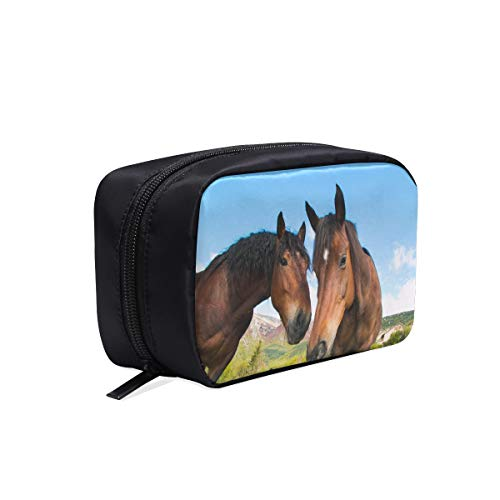 Two Handsome Horses Standing Together Portable Travel Makeup Cosmetic Bags Organizer Multifunction Case Small Toiletry Bags For Women And Men Brushes Case