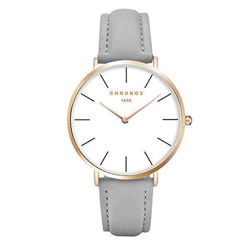 Simple Women Men Quartz Watch PU Leather Strap Ladies Gentlemen Dress WristWatch, Grey-Rose Gold from Joeyan