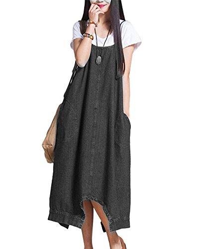 Tasche Ufficio E Elegante Vestito Salopette Di Donna Lunga Nero Jeans Shifan qxztp8gZw