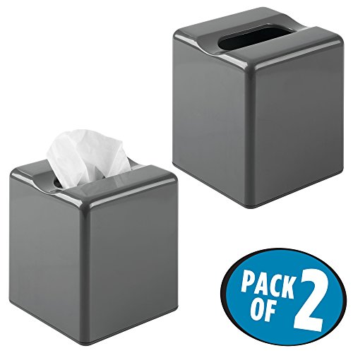 mDesign Modern Square Plastic Paper Facial Tissue Box Cover Holder for Bathroom Vanity Countertops, Bedroom Dressers, Night Stands, Desks and Tables - Pack of 2, Slate Gray (Nesting Tables Iron Square)