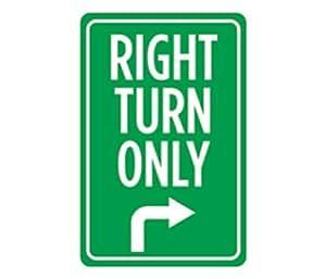 Aluminio Metal giro a la derecha sólo impresión verde y blanco grande 12X 18aviso flecha calle señal de conducción en carretera