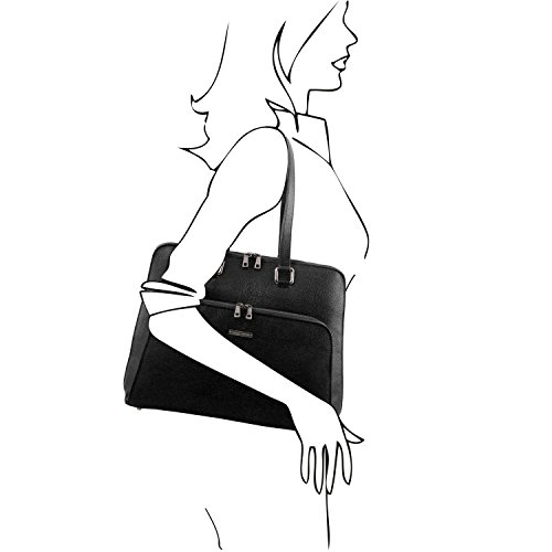 Tuscany Leather Lucca Maletín TL SMART en piel suave para mujer Marrón topo oscuro Maletines en piel Negro
