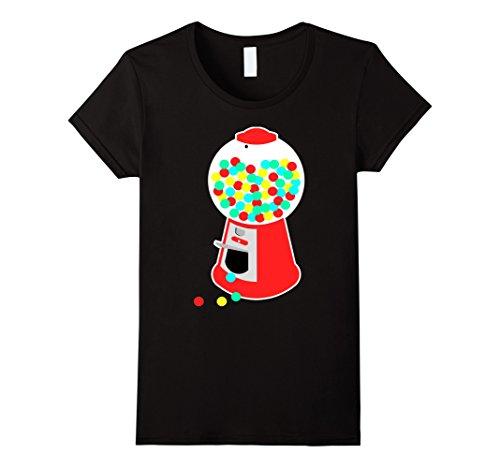Women's Gumball Machine T-Shirt Vending Machine Candy Chewing Gum Small Black (Jelly Bean Halloween Costume)