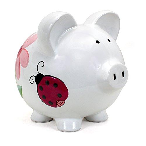 Child to Cherish Ceramic Piggy Bank for Girls, Ladybug