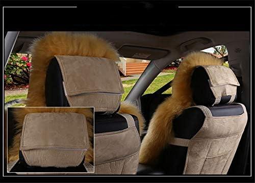 Pl/üsch Autositzbezug Wei/ß + Grau Lammfell Auto Sitzauflage,Winter Wolle Vorne Einzigen Sitzkissen,Autositzkissen Abdeckung Auto Sitzbezug 1 St/ück