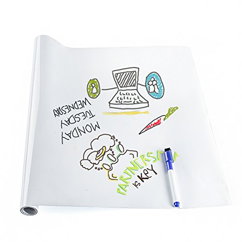 Whiteboard Sticker Wall Paper Self Adhesive Large Whiteboard Wall Paper Dry Erase Message Board Wall Decal Peel and Stick Wallpaper for Home Office School with a Free Marker Pen, 17.7