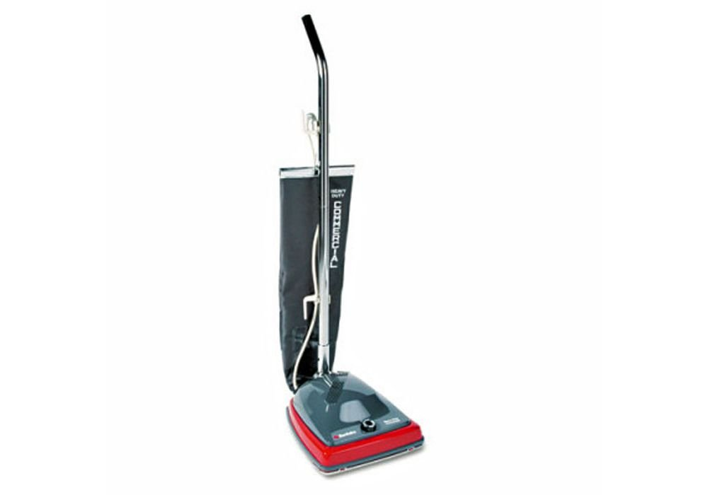 Commercial Lightweight Bag-Style Upright Vacuum Red Fabric/Gray Paint Dimensions: 14.25''W X 20''D X 7.75''H Weight: 14 Lbs