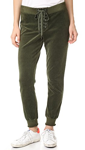 Cropped Velour (Pam & Gela Women's Cropped Velour Lace Up Sweatpants, Olive, Petite)