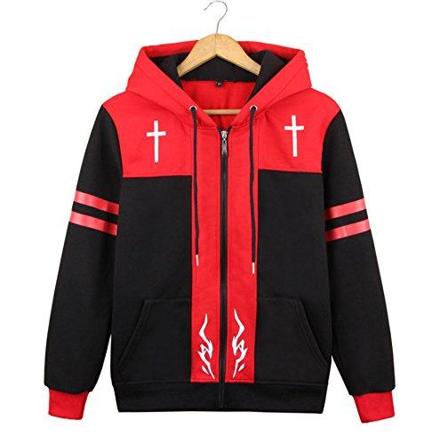 Dawn BG Amakusa Shirou Tokisada Cosplay Hoodies Red Black Jacket Costume (L, Black) -