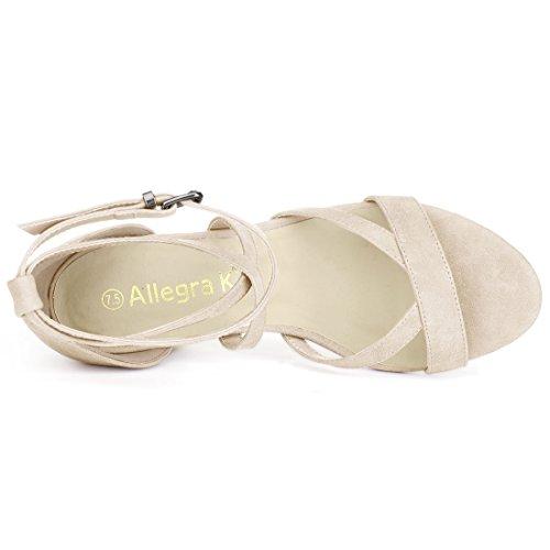Allegra Strap Ankle 6 Beige 5 Heel Sandals Us Crisscross K 1 Beige Chunky Women's rHwqrF