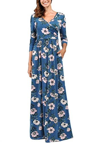 Comila Women Dress with Pockets, Vintage Classic Floral Dress Long Wrap V Neck Casual Pockets Elegant 3/4 Sleeves Pattern Flowying Party Dress Light Blue XL (US ()