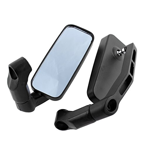 (DLLL Universal Motorcycle Black Aluminum Rectangle Blind Spot Blue Rearview Side Mirror Fits Harley Davidsons,Suzuki,Honda,Kawasaki Cruisers,Touring Bikes,Sport Bike,Cafe Racers,Electric Scooters)