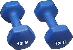 AmazonBasics Neoprene Dumbbells 10-Pound, Set of 2, Navy Blue