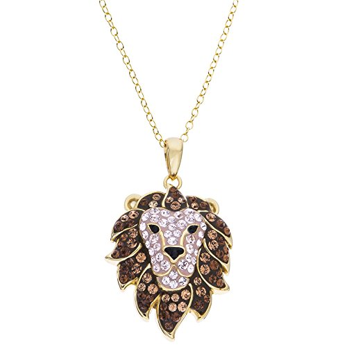 - CRYSTALOGY Women's Jewelry, Sterling Silver Swarovski Crystal Lion Head Animal Leo The Lion Pendant Necklace, 18