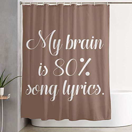 FOECBIR My Brain is 80 Percent Song Lyrics Shower Curtain with Hooks Polyester Fabric Bathroom Decor -