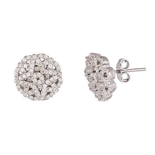 ique Style Cubic Zirconia Stud Post Earrings for Women in Rhodium Plated 925 Sterling Silver ()