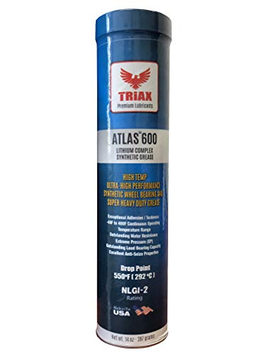 Wheel Grease - Triax Atlas 600 Full Synthetic High Temp NLGI-2 | Wheel Bearing, Heavy Duty Ultra High Performance Grease | Virtually Waterproof (Marine) | High Adhesion | High EP Rating (1 Tube)