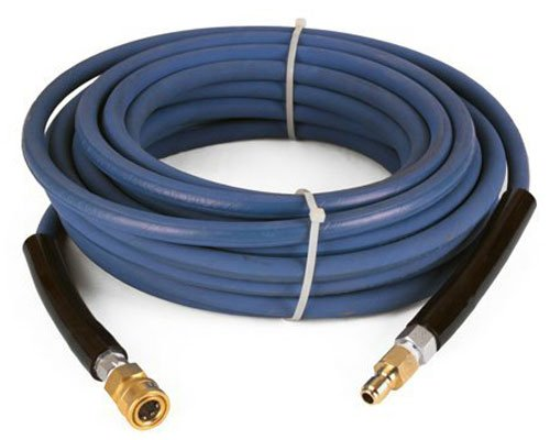Raptor Blast 6000 PSI BLUE 2 Wire Braid NON Marking Pressure Washer Hose 100' w/ Couplers 100' Black Blast Hose