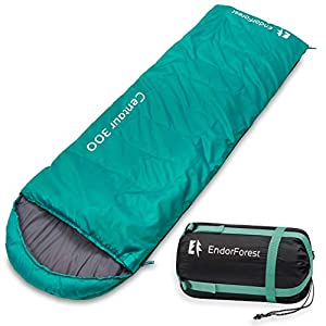 Endor Forest Sleeping Bag for Adults and Kids – Made With Ripstop Polyester, Single Envelope 3 Season Sleeping Bag for Camping – Lightweight, Compact and Water Resistant for a Comfortable Warm Sleep