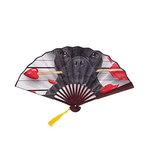 SGFDH Bamboo Fans Large Valentines Bulldog Dog Rose Mouth Mugshot with Bamboo Frame Tassel Pendant and Cloth Bag Chinese Fan Decoration Folding Fan Hand Chinese Folding Fans for Women