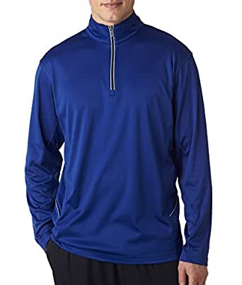 UltraClub Adult Cool & Dry Sport 1/4-Zip Pullover - Kyanos Blue - XL