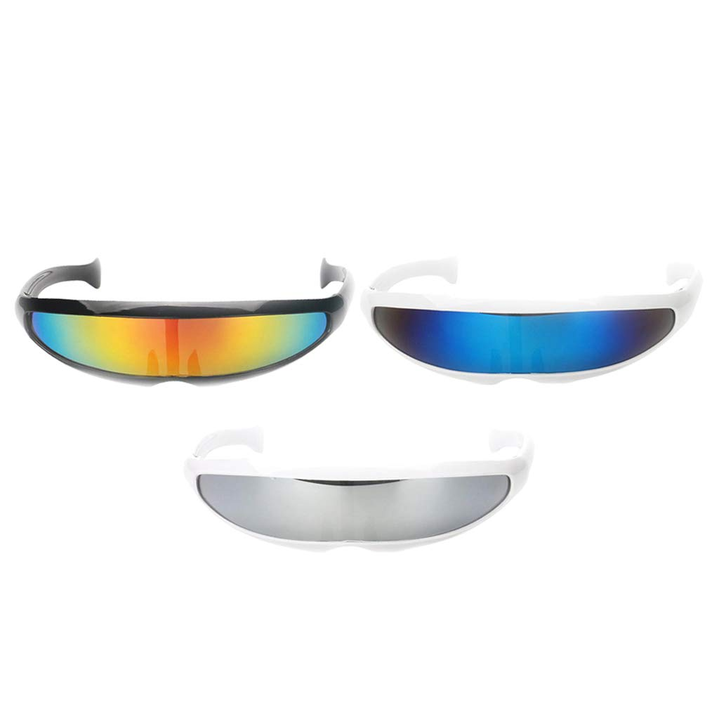 D DOLITY 3//pack Novelty Futuristic Cyclops Sunglasses Mirrored Monoblock Sunglasses