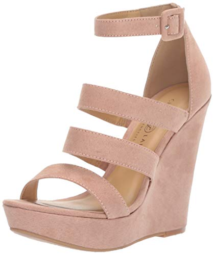 Chinese Laundry Women's MANEEYA Wedge Sandal, Dark Nude Suede, 6.5 M US