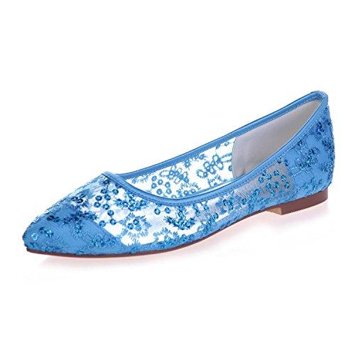 L@YC 2046-18 Zapatos Planos De La Corte De La Cinta Del CordóN De La Bomba Del Dedo Del Pie Plano Femenino Blue