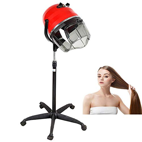 (JYY Professional Stand Hair Dryer with Bonnet Hood Hair Steamer Adjustable Stand Style with Rolling Wheels, Salon Beauty Equipment 1100 W(RED))