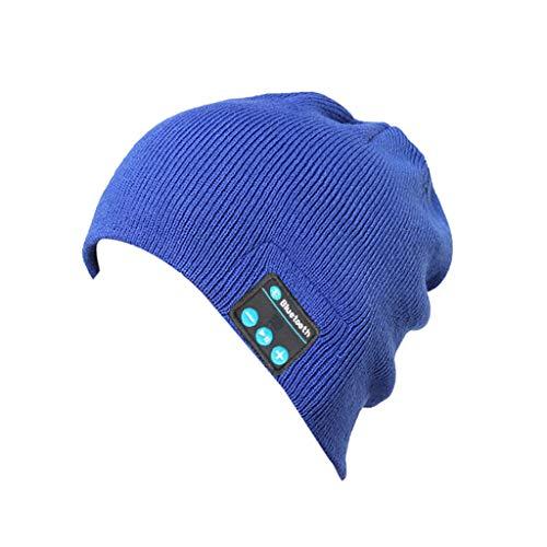بلوتوث Beanie کلاه مخصوص نوجوانان پسرانه بلوتوث بی سیم گرم Beanie کلاه هدست هدست هدایای کریسمس هدایای کریسمس هندزفری رایگان صحبت کردن برای خانمها (آبی)