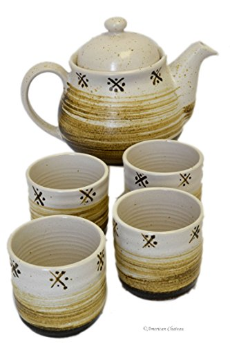 5 Piece Japanese Brown Beige Pottery Art Ceramic Tea Set Teapot with Infuser