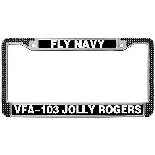 Welljooy VFA-103 Jolly Rogers Fly Navy License Plate Zinc Frame,Bling Crystal Chrome Plated Zinc Automotive License Plate Frame,Black Bling Crystal License Plate Cover Tag Anti-Theft Screw Cap