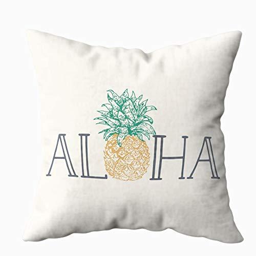 Musesh Aloha Hawaiian Pineapple Lumbar Pillow Quote Cushions Case Throw Pillow Cover for Sofa Home Decorative Pillowslip Gift Ideas Household Pillowcase Zippered Pillow Covers ()