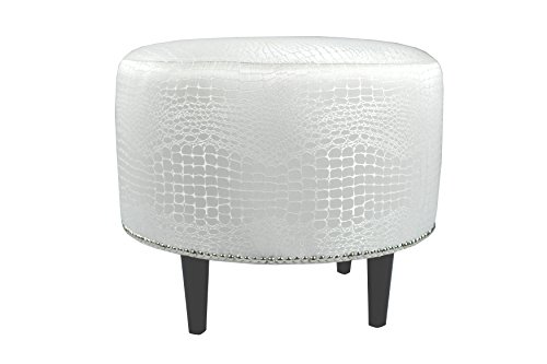 MJL Furniture Designs Sophia Collection Fabric Upholstered Round Footrest Ottoman with Round Espresso Finished Legs, Tillie Series, Sterling For Sale
