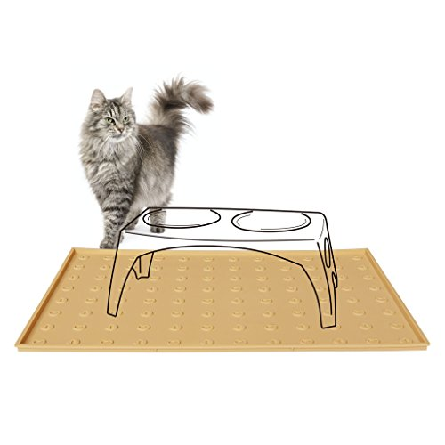 WooPet! Pet Food Mat 24''x16'' Tan Extra Large, Premium Silicone Food Safe Cat or Dog Feeding Mat by WooPet! (Image #6)