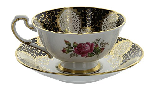 Paragon Bone China (Vintage Paragon England Bone China White & Gold Gilt Rose Pattern Tea Cup and Saucer Set)
