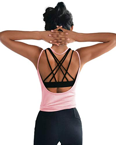 (DIBAOLONG Womens Summer Workout Tops Sexy Open Back Backless Yoga Shirts Activewear Workout Clothes Running Sports Gym Fitness Quick Dry Loose Cute Sleeveless Tank Tops Pink L)