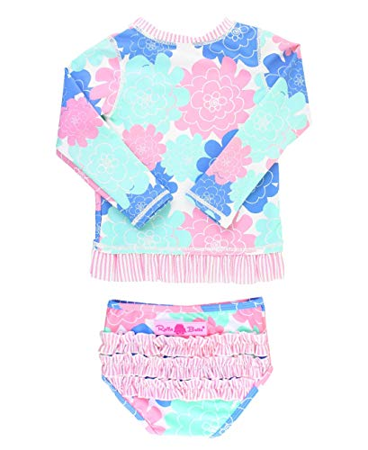(RuffleButts Little Girls Pastel Floral Long Sleeve UPF 50+ Rash Guard Bikini Swimsuit - 2T)
