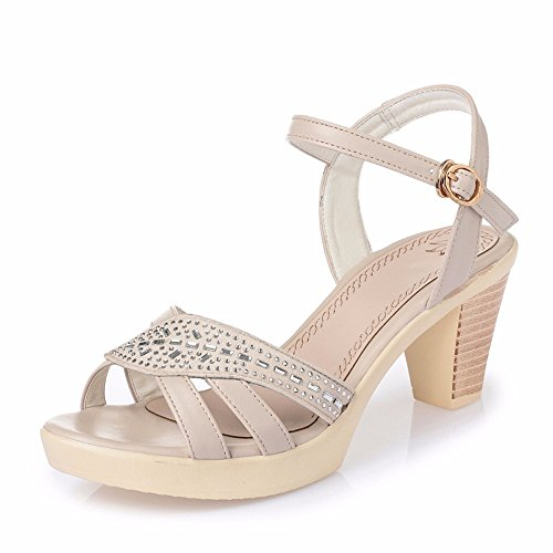 Estate Alto Impermeabile Con Una beige Sandali Lady us6 Fibbia Scarpe cn36 Parola eu36 In uk4 Shoes No Tacco 55 8tw7qxnCI0