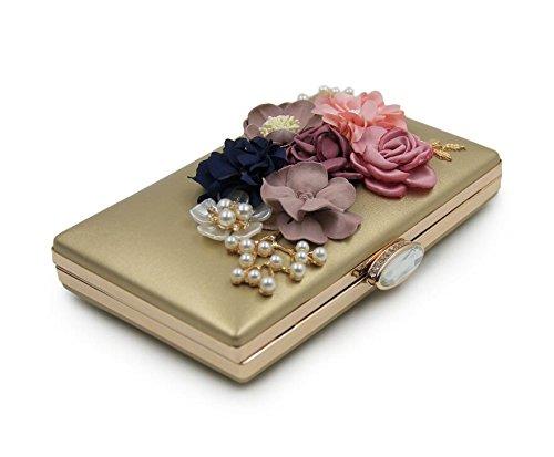 Gold à Embrayages d'embrayage main mariage de à Fleur Femmes NBWE de sac main Sacs soirée Sacs 4HZBx6qw