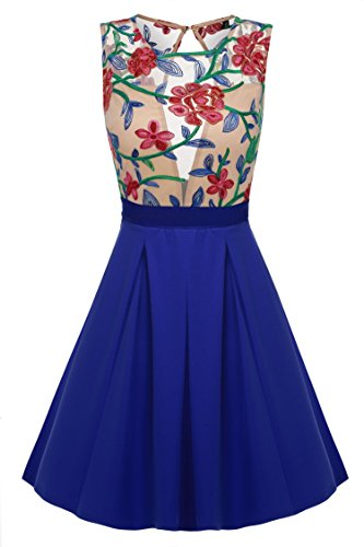 ACEVOG Women Floral Lace Splicing Slim Fit Casual Mini Sleeveless Cocktail Dress, Blue, - Sleeveless Cocktail