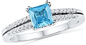 Size - 9 - Solid 10k White Gold Princess Cut Round Simulated Blue Topaz And White Diamond Engagement Ring OR Fashion Band Prong Set Solitaire Shaped Ring (.15 cttw)