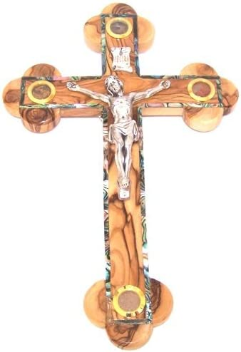 14 Stations Crucifix – Olive with Mother of Pearls and Holy Land Samples 35 cm – 13 inches