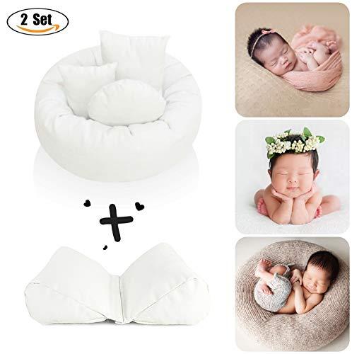 2 Set Newborn Baby Photography Props Pillows (Baby Basket Filler Wheat Donut Pillows)+(Newborn Butterfly Posing Pillows)