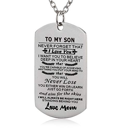 FAYERXL to My Amazing Daughter Son Dog Tag Necklace Gift Ideas from Dad Mom Inspiration Quote Gift (Mom to Son)