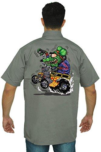 Men's Mechanic Work Shirt Crazy Hot Rod Rat: GREY (XXL) (Mouse Grey Rubber)
