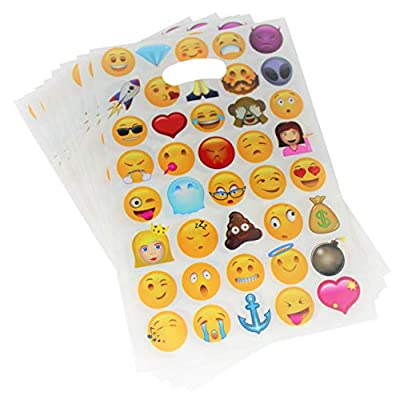 Emoji Party Favor Bags - 50 Pack Goodie Gift Bags for Kids Birthday Goody Loot Bags 6 Designs 10 x 6.5 Inch: Toys & Games