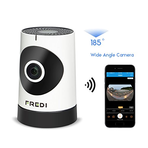 FREDI 185°Wide Angle WiFi IP Security Surveillance Camera with IR Night Vision /2-way Audio Support micro SD card...