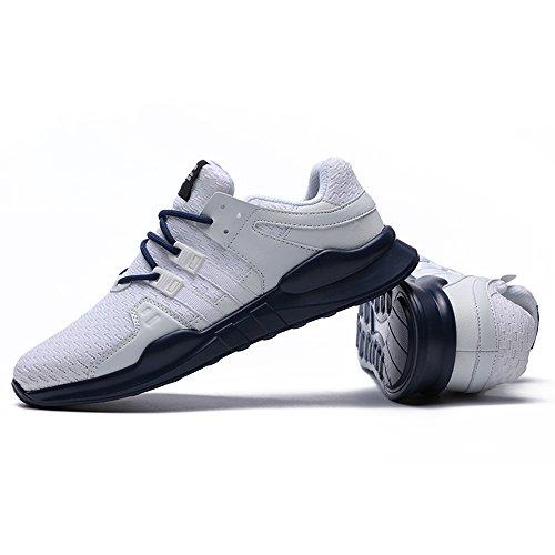 JACKSHIBO Herren Leicht Laufschuhe Atmungsaktiv Sportlich Laufschuhe Weiß Blau