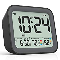 Battery Operated Digital Alarm Clock, Dual Smart Alarm with Workdays/Weekends Setting, Loud Alarm, Snooze, Small Travel Clock with Indoor Thermometer/Hygrometer, Dimmable LED Backlight, Handheld Size